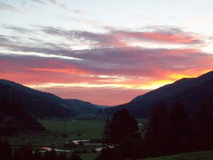 Sunset over the Flint Creek Valley from the hills outside Philipsburg, Montana.