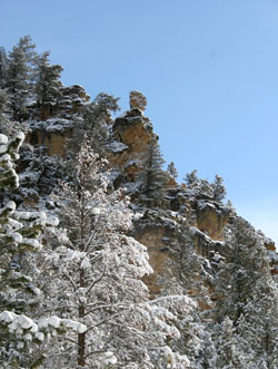 Snow Covered cliffs near Flint Creek Pass, MT