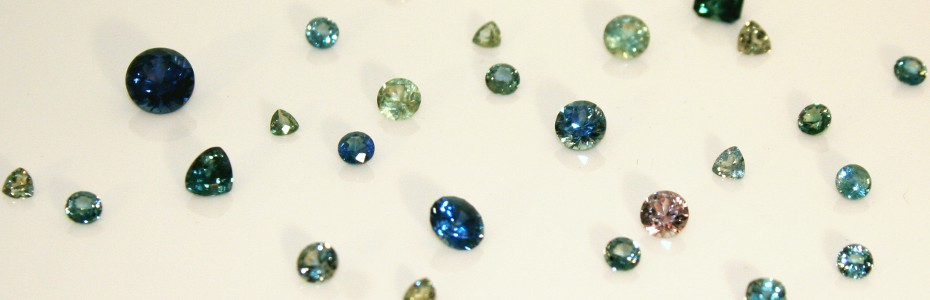 Montana sapphires in a Philipsburg jewler's display.